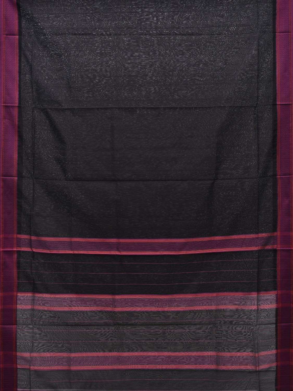 Black Maheshwari Cotton Silk Handloom Plain Saree with Strips Pallu Design m0124