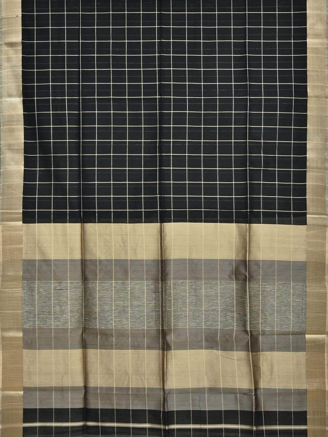 Black Maheshwari Cotton Silk Handloom Saree with Checks Design m0108