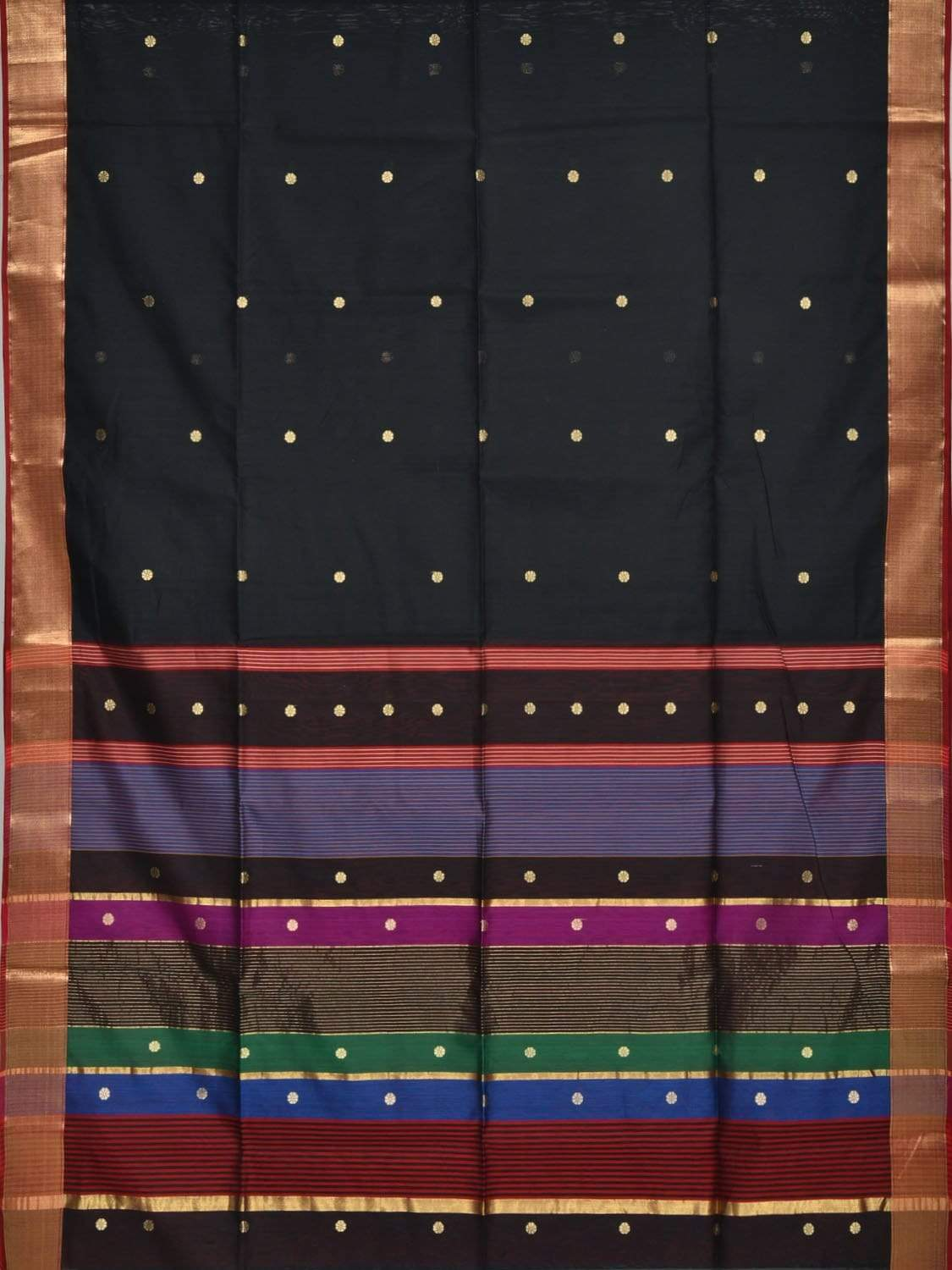 Black Maheshwari Cotton Silk Handloom Saree with Small Buta Design m0106