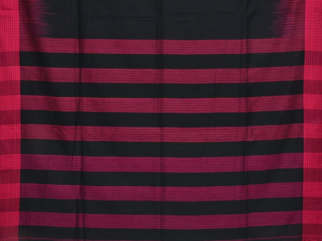 Black Organic Cotton Handloom Plain Saree with Small Checks Border o0259