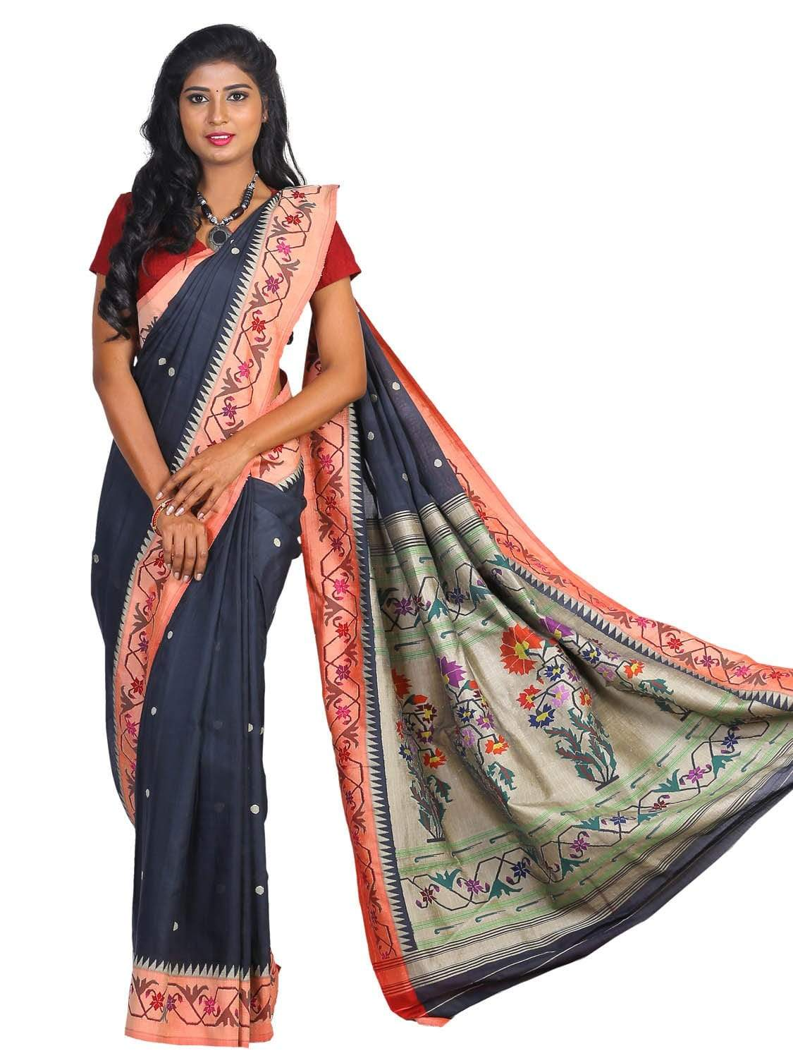 Black Paithani Cotton Handloom Saree with Aakruti Border Design p0326