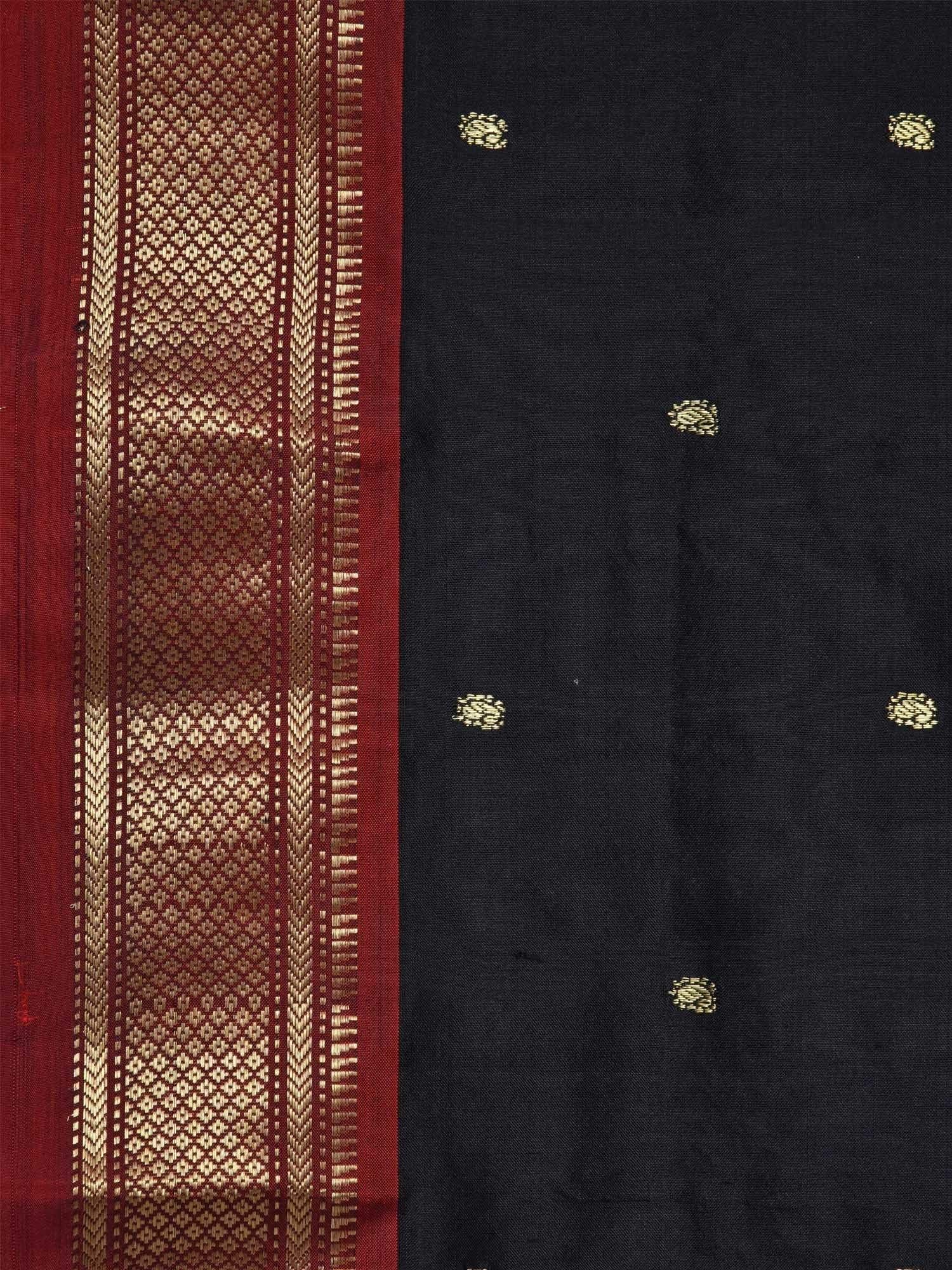 Black Paithani Silk Handloom Saree with Double Pallu Design p0291