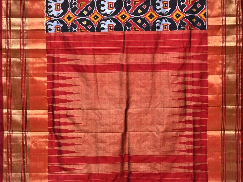 Black Pochampally Single Ikat Silk Handloom Saree with Elephant and Parrot Buta Design i0562