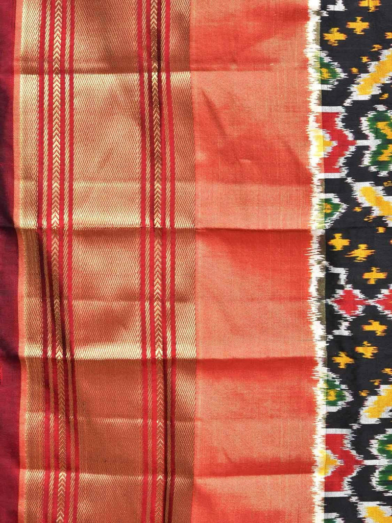 Black Pochampally Single Ikat Silk Handloom Saree with Elephant Pallu and Grill Design i0566