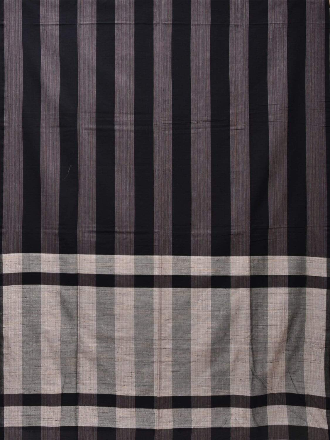 Black Soft Cotton Handloom Saree with Strips Design o0282