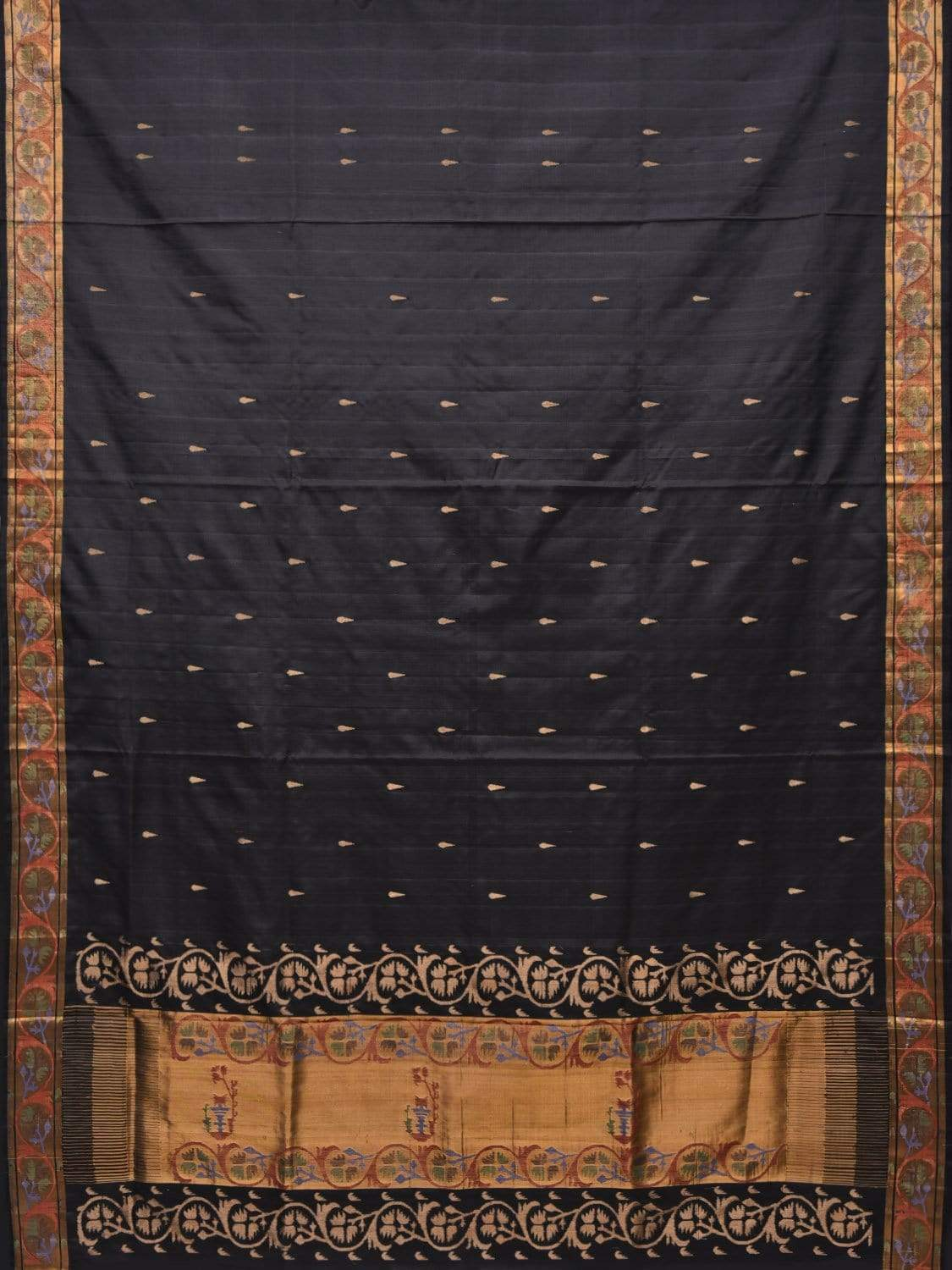 Black Uppada Cotton Handloom Saree with Aakruti Border and Pallu Design u1610