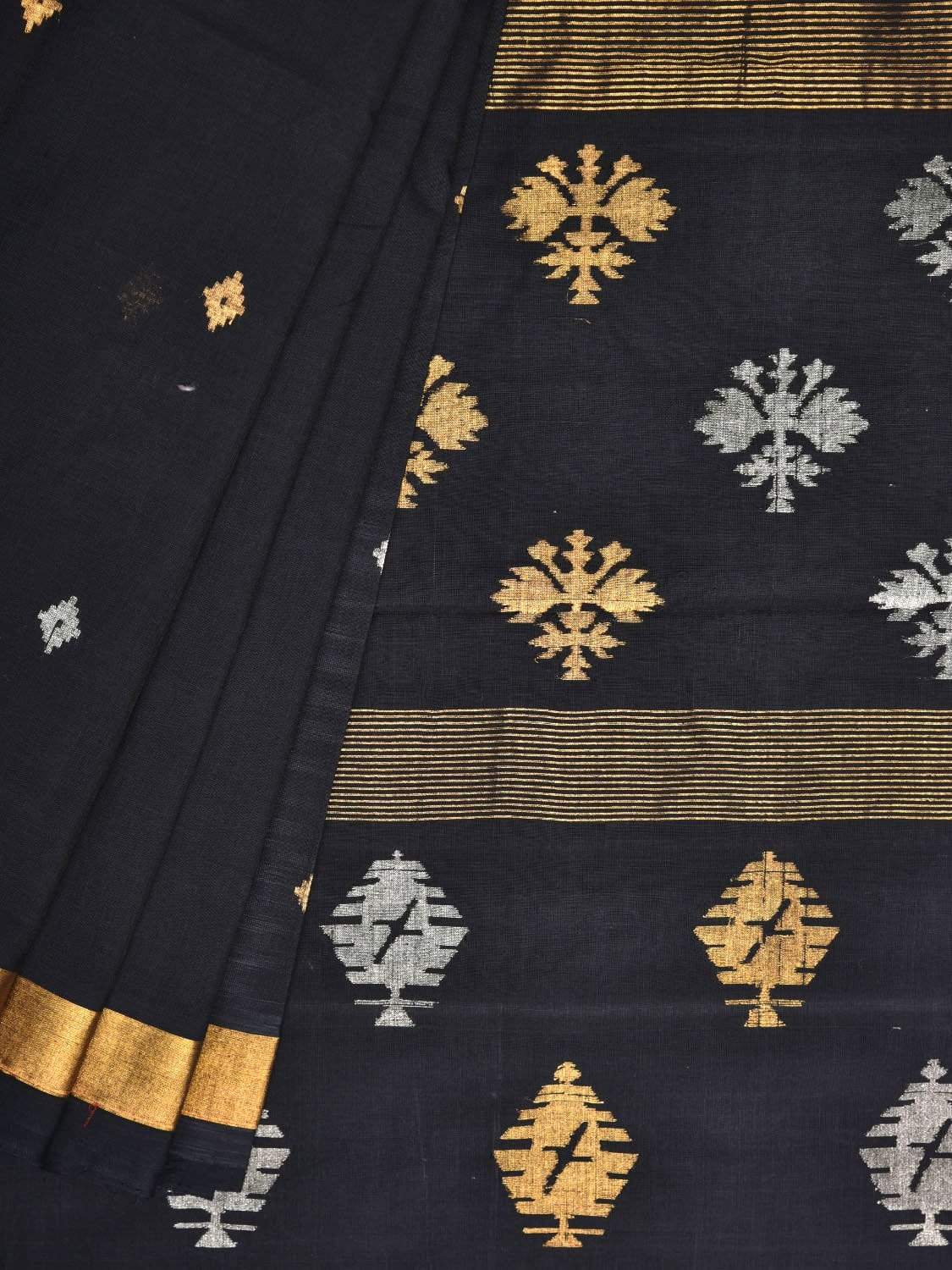 Black Uppada Cotton Handloom Saree with Assorted Buta Pallu Design u1632