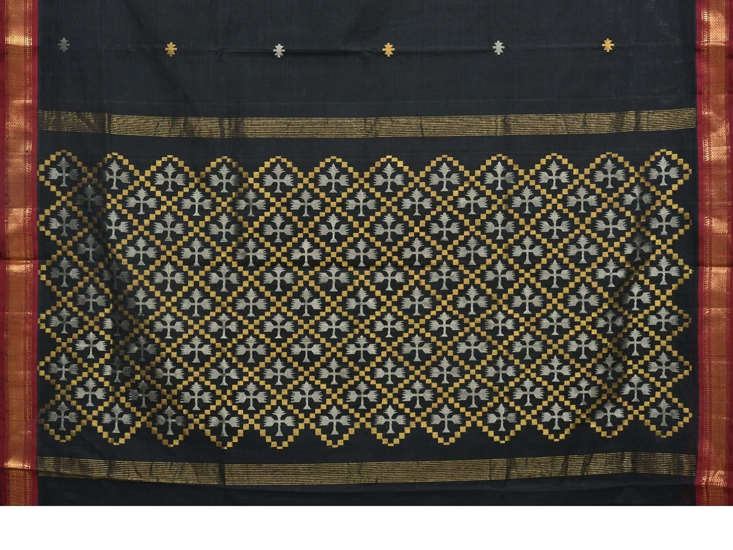 Black Uppada Cotton Handloom Saree with Jamdani Pallu and Traditional Border Design u1579