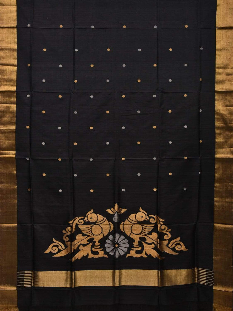 Black Uppada Silk Handloom Saree with Birds Pallu Design u1695