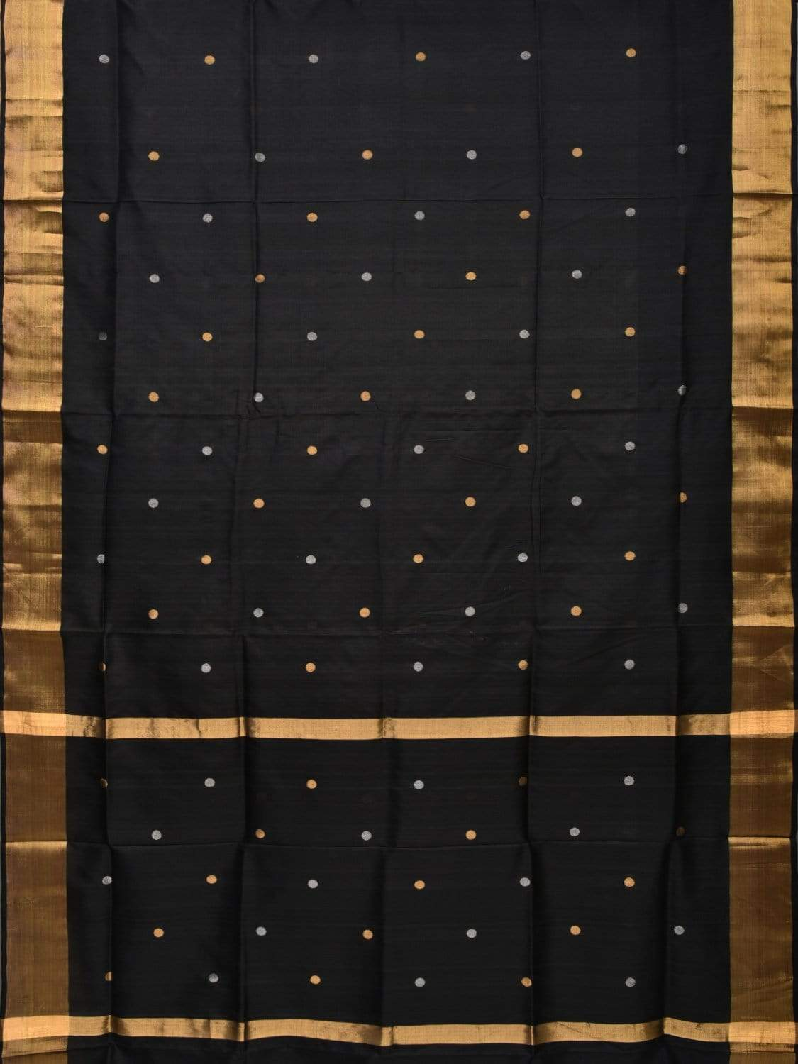 Black Uppada Silk Handloom Saree with Coin Buta Design u1641