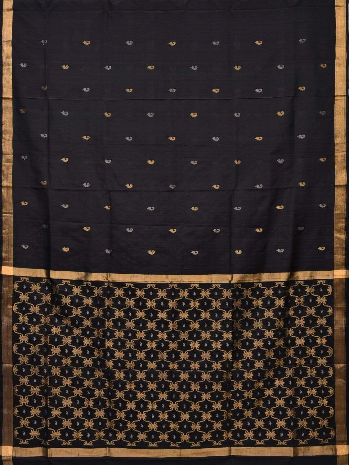 Black Uppada Silk Handloom Saree with Grill Pallu Design u1635