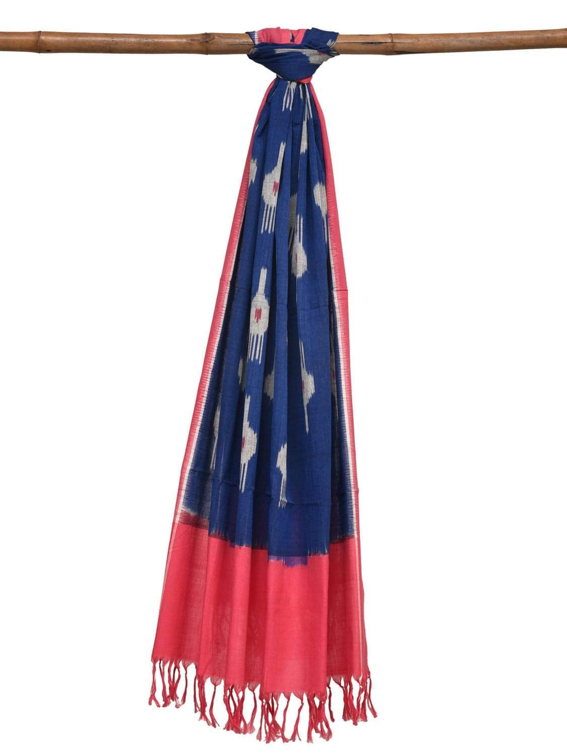 Blue and Baby Pink Pochampally Ikat Cotton Handloom Dupatta with Buta Design ds1889