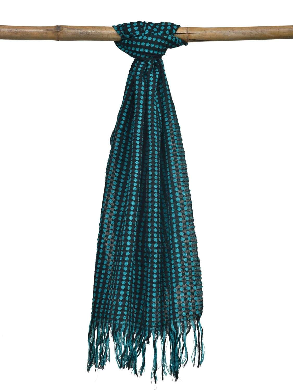Blue and Black Hand Woven Woolen Shawl Stole with Dots Design ds1861