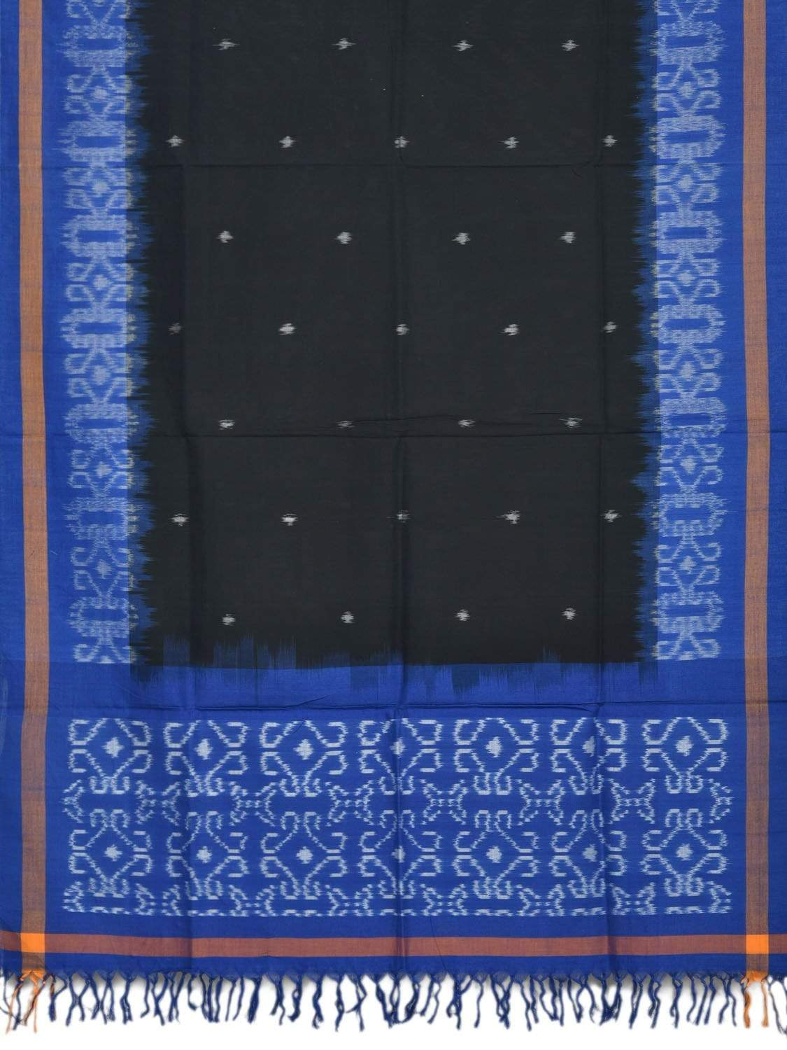 Blue and Black Pochampally Ikat Cotton Handloom Dupatta with Border Design ds1877