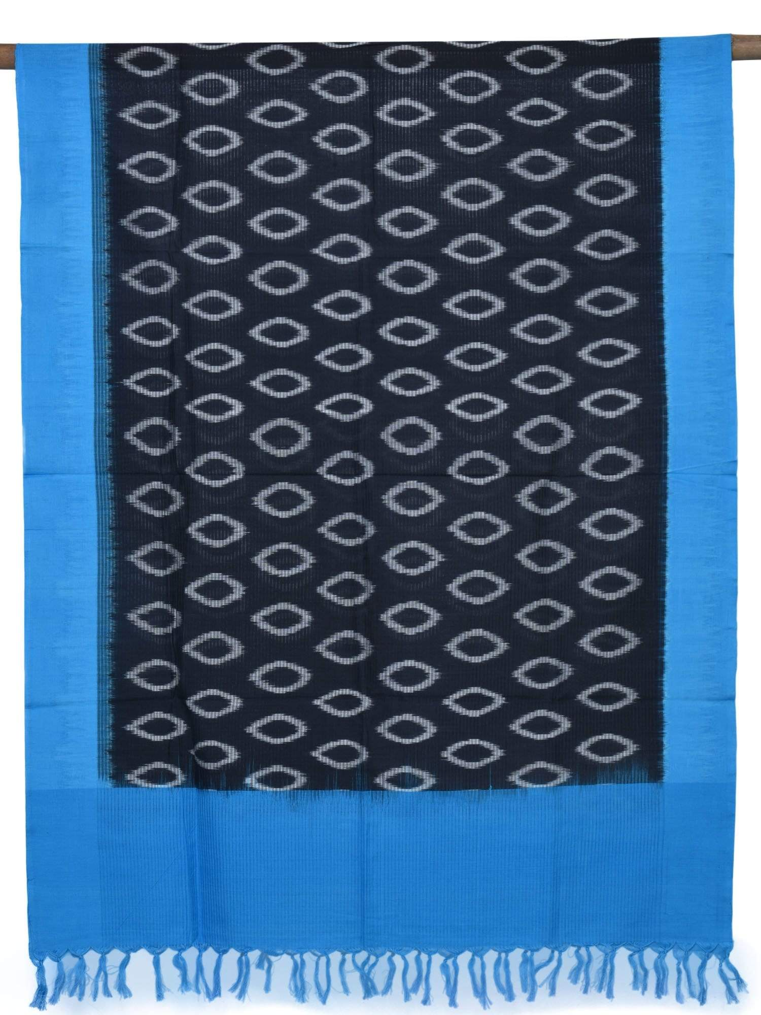 Blue and Black Pochampally Ikat Cotton Handloom Dupatta with Circles Design ds1598