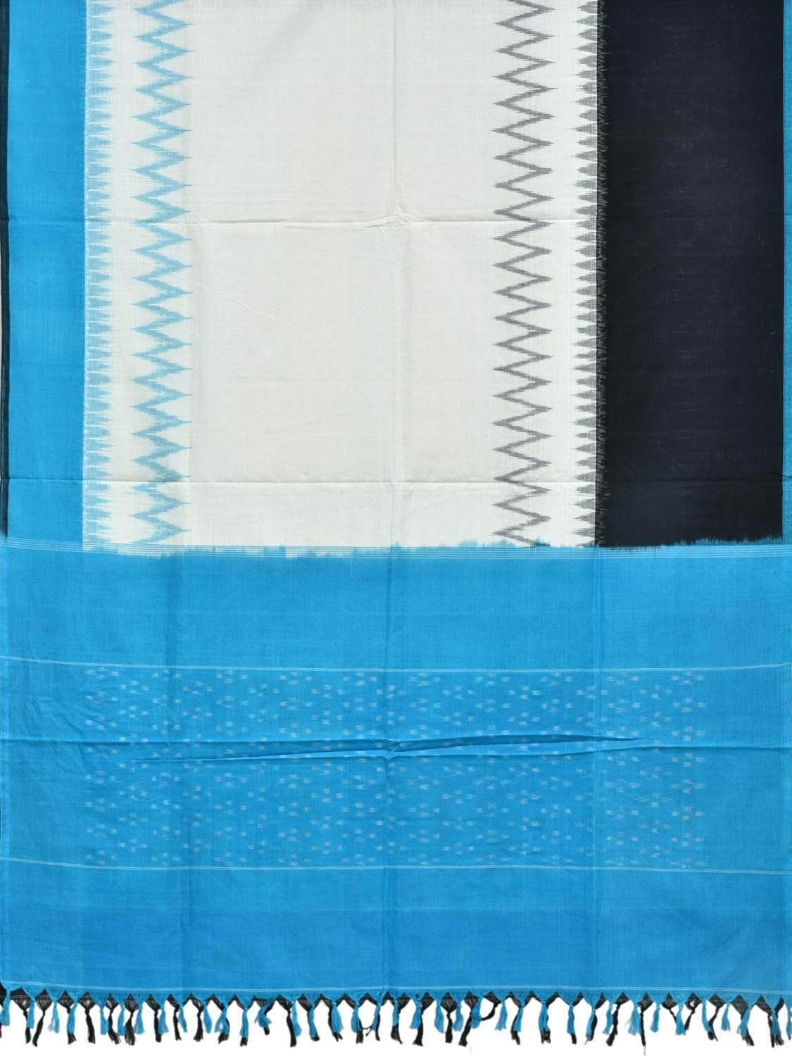 Blue and Black Pochampally Ikat Cotton Handloom Dupatta with Ganga-Jamuna Border ds1843