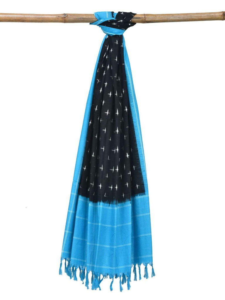 Blue and Black Pochampally Ikat Cotton Handloom Dupatta with Plus Buta Design ds1826