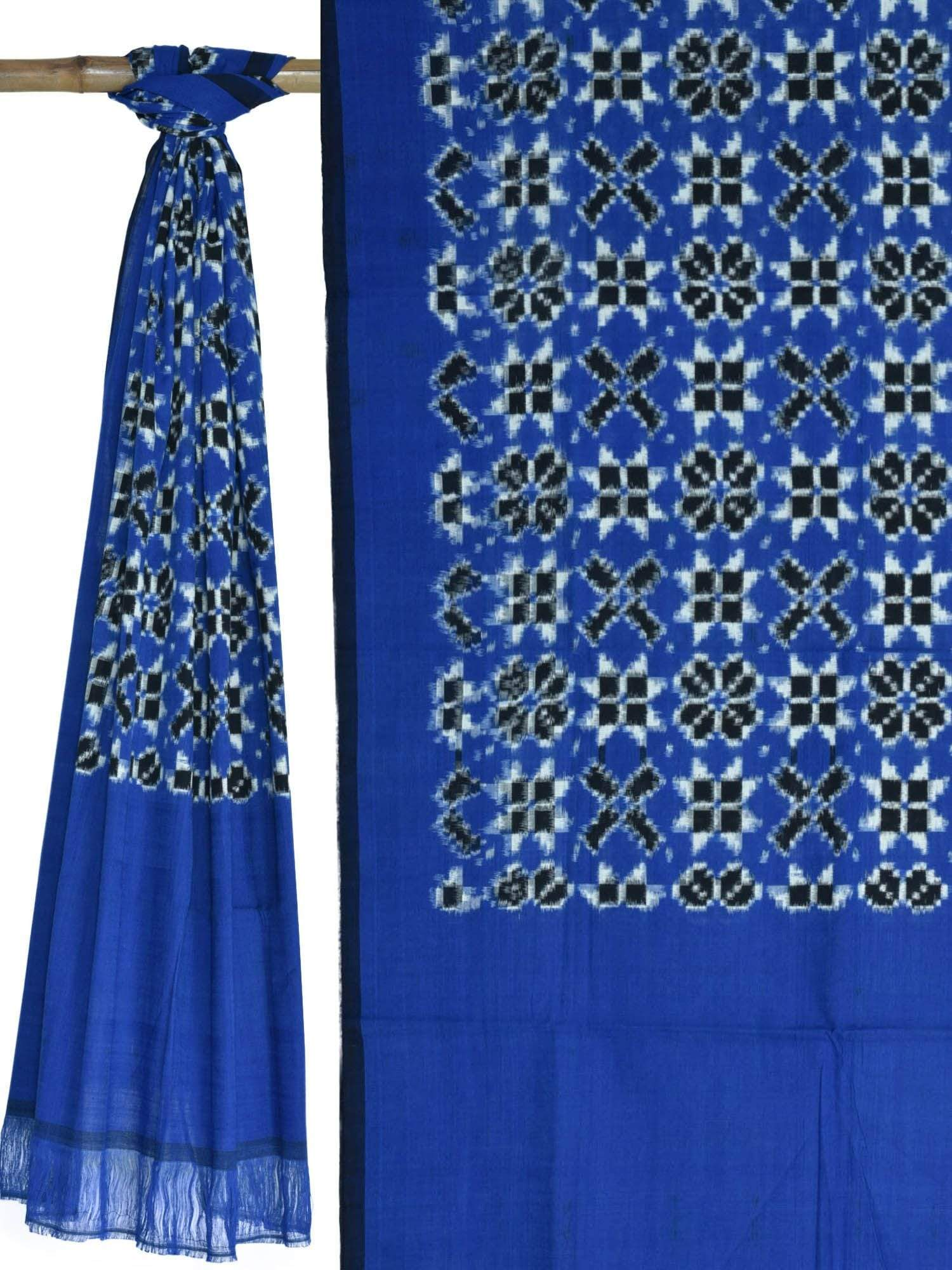 Blue and Black Pochampally Ikat Cotton Handloom Dupatta with Telia Design ds1622