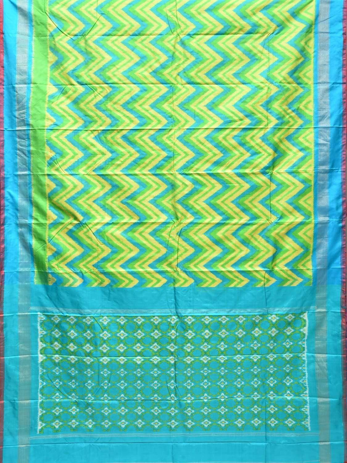 Blue and Green Pochampally Single Ikat Silk Handloom Saree with All Over Zig-Zag Design i0552