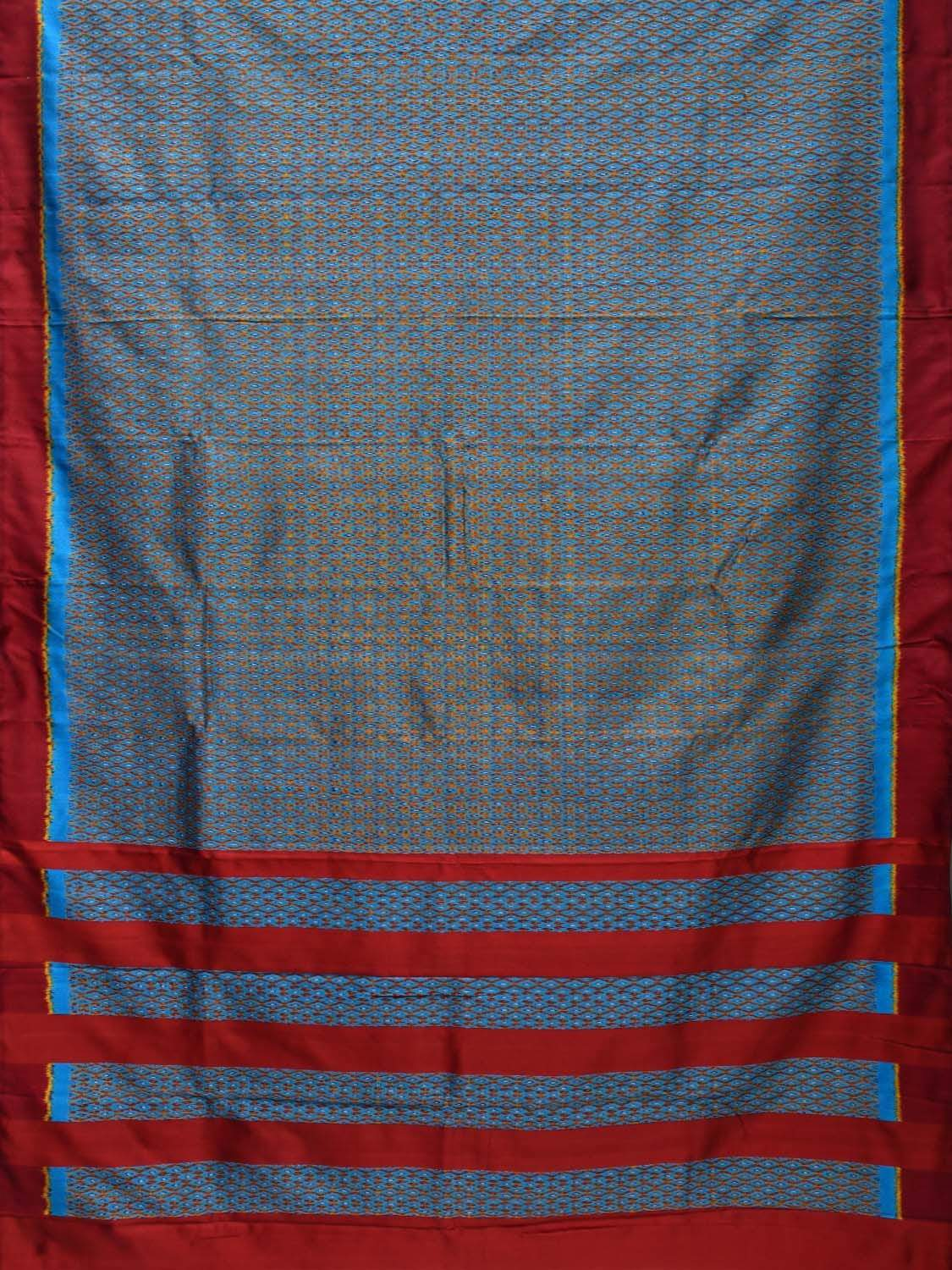 Blue and Maroon Pochampally Ikat Silk Handloom Saree with Twill Design i0556