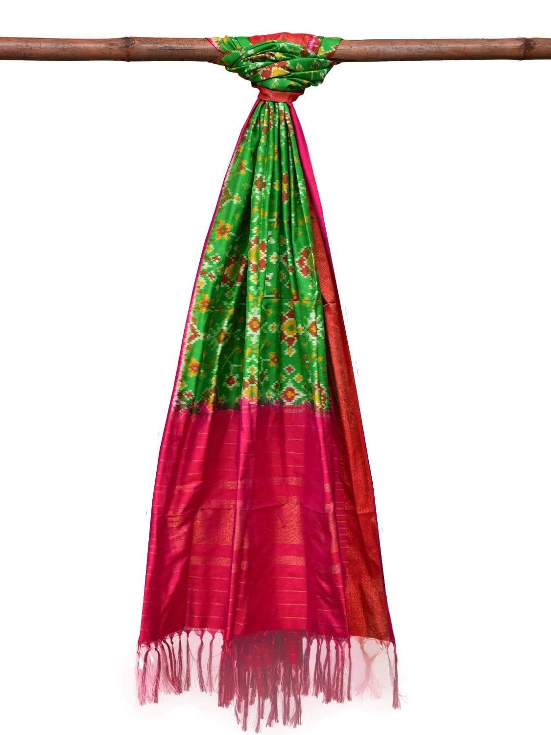 Blue and Pink Pochampally Ikat Silk Handloom Dupatta with All Over Design ds2035