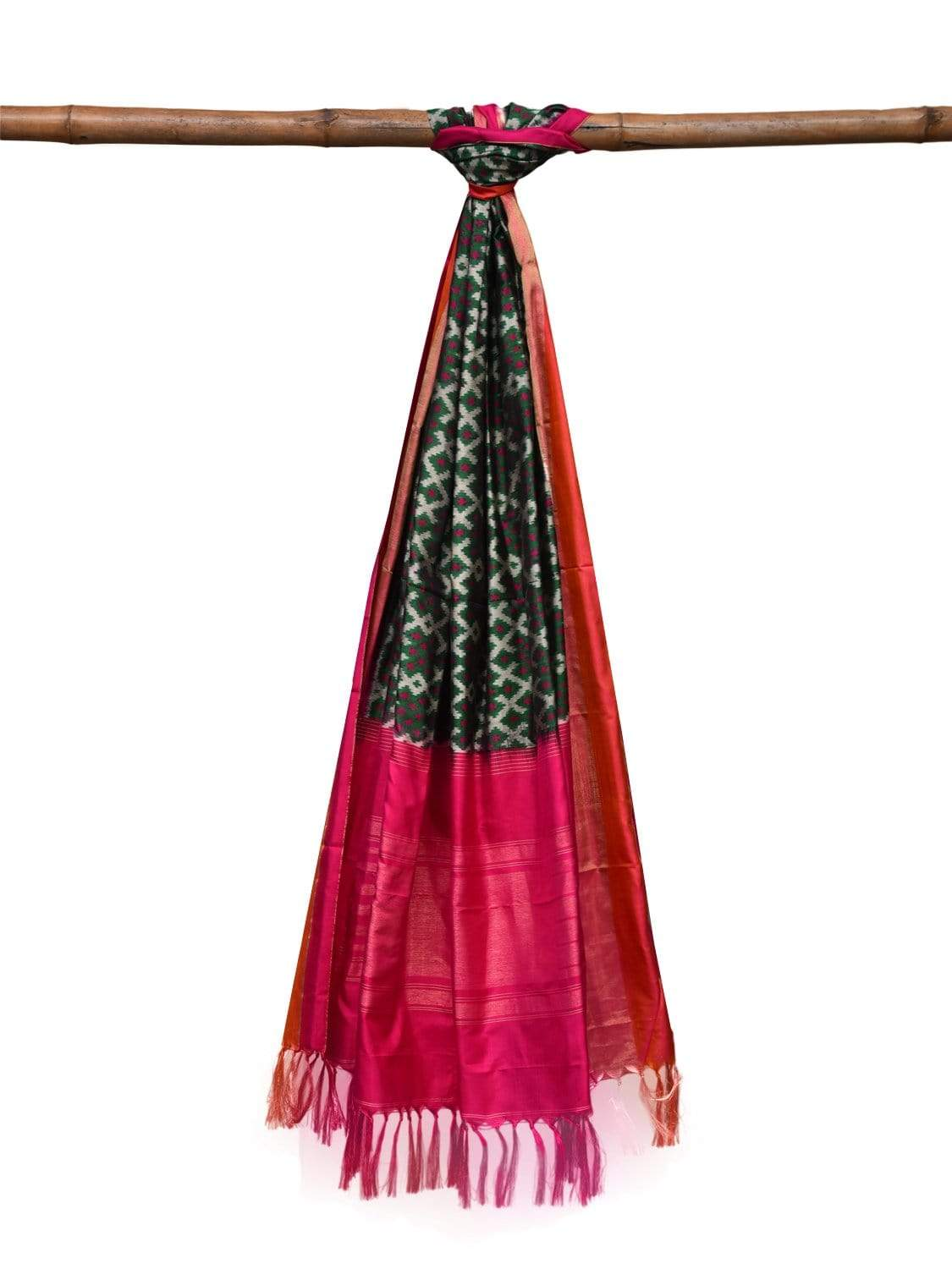 Blue and Pink Pochampally Ikat Silk Handloom Dupatta with All Over Design ds2039