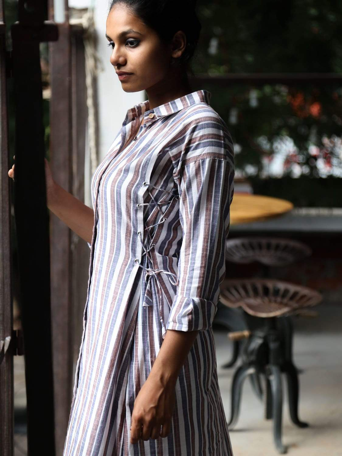 Blue and Red PikaLove Organic Cotton Stripped Shirt Dress FNG-MB-SSD-016