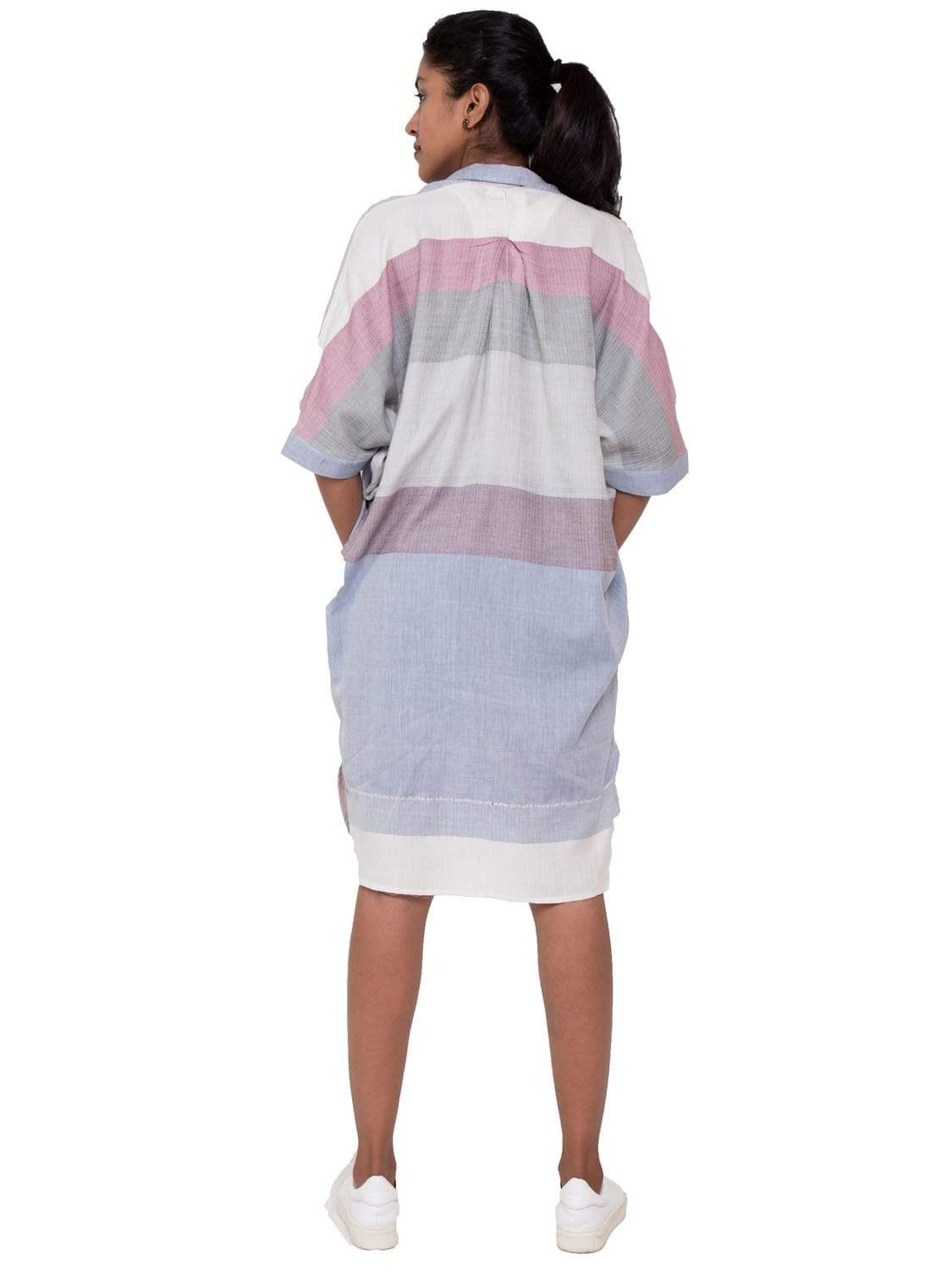 Blue and Red PikaLove Organic Cotton Stripped Shirt Dress UNC-MB-SSD-001
