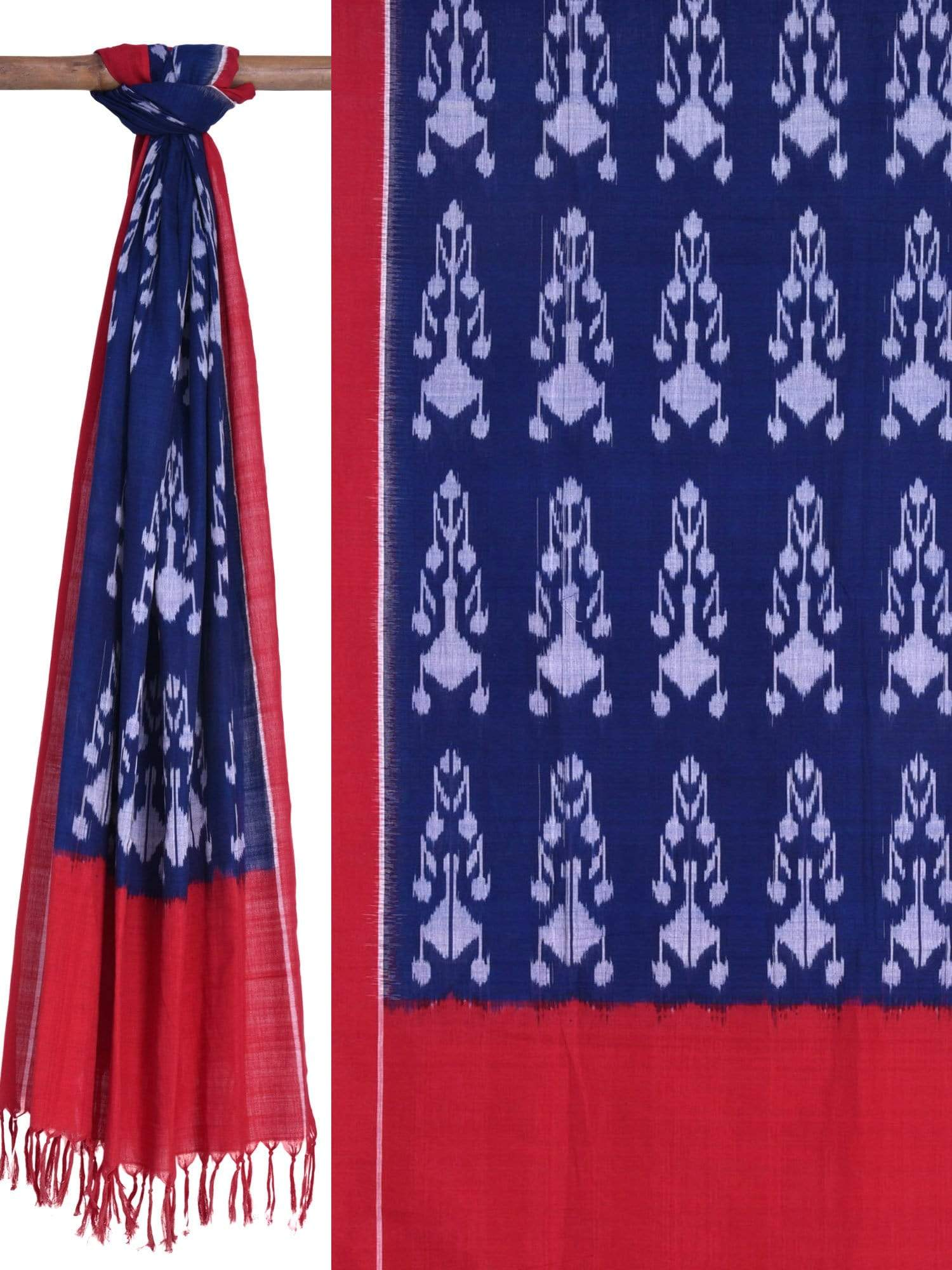 Blue and Red Pochampally Ikat Cotton Handloom Dupatta ds1558