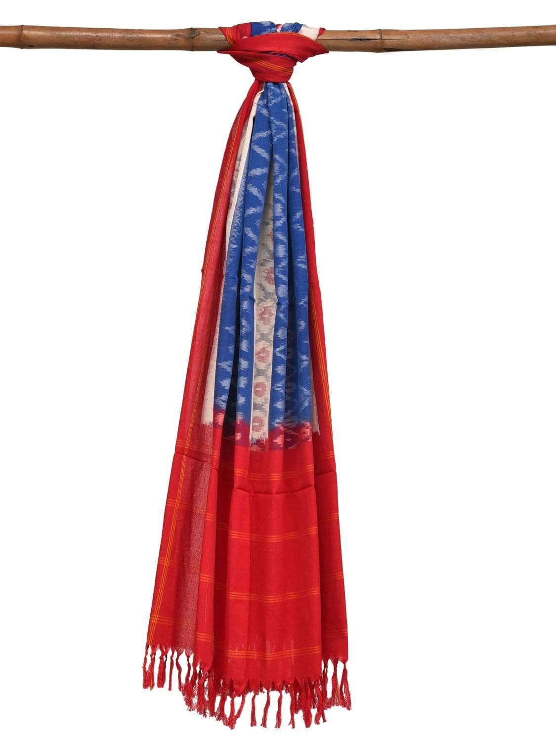 Blue and Red Pochampally Ikat Cotton Handloom Dupatta with Double Design ds1892