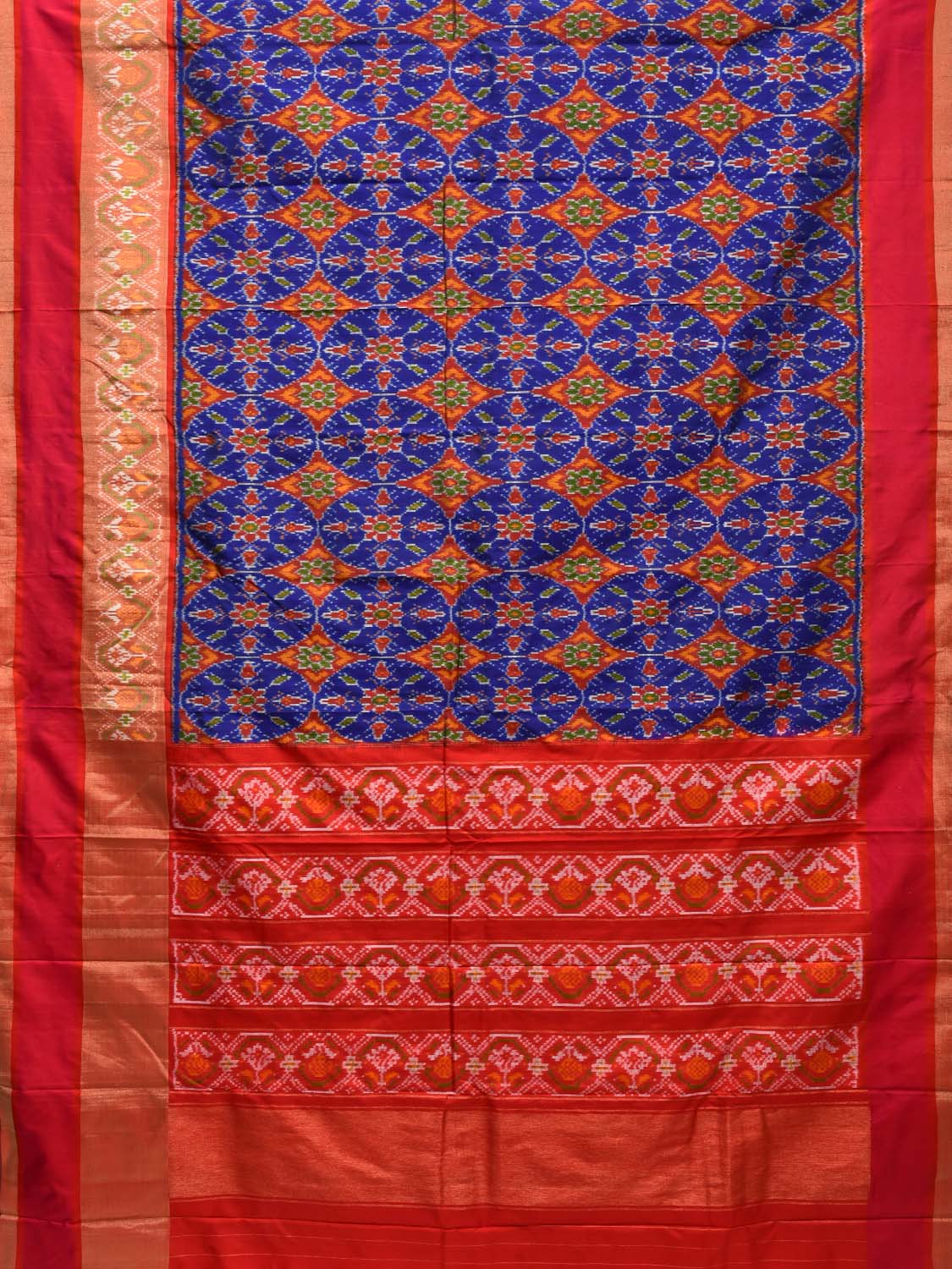 Blue and Red Pochampally Single Ikat Silk Handloom Saree with All Over Design i0554