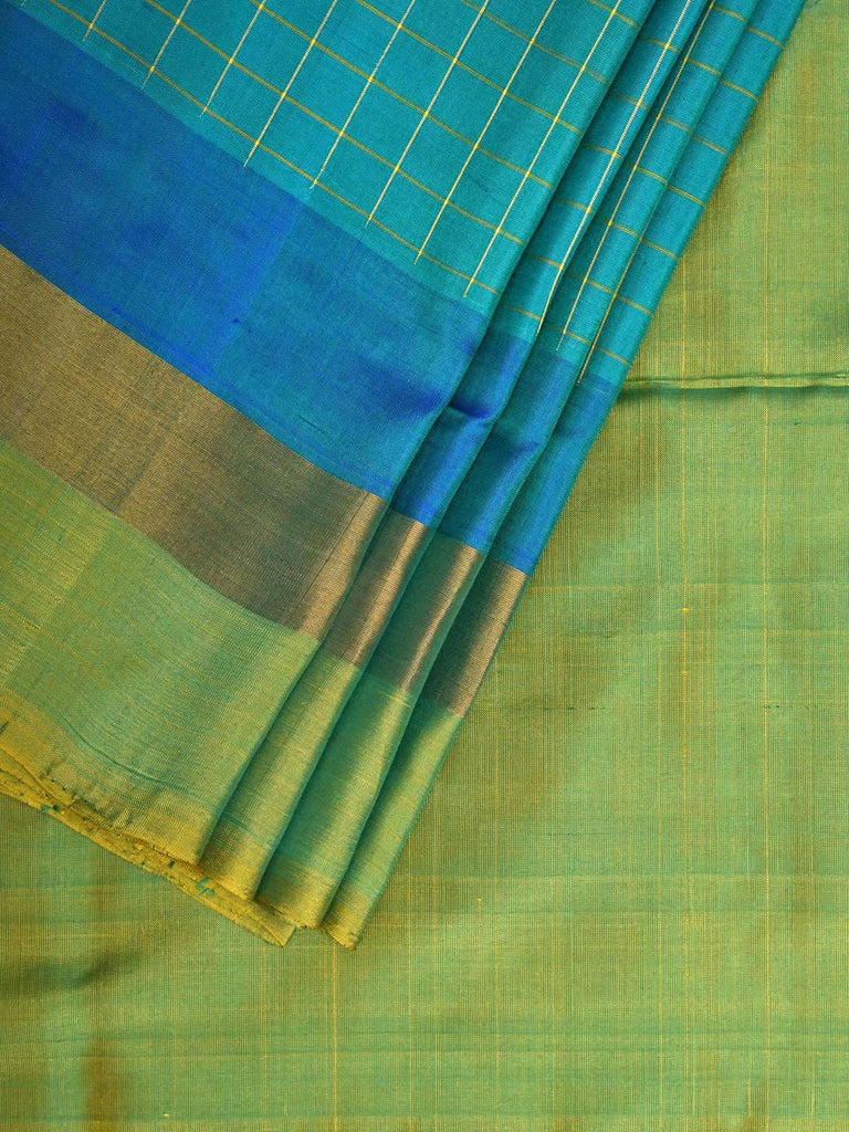 Blue and Sea Green Uppada Silk Handloom Saree with Half Plain and Half Checks Design u1731