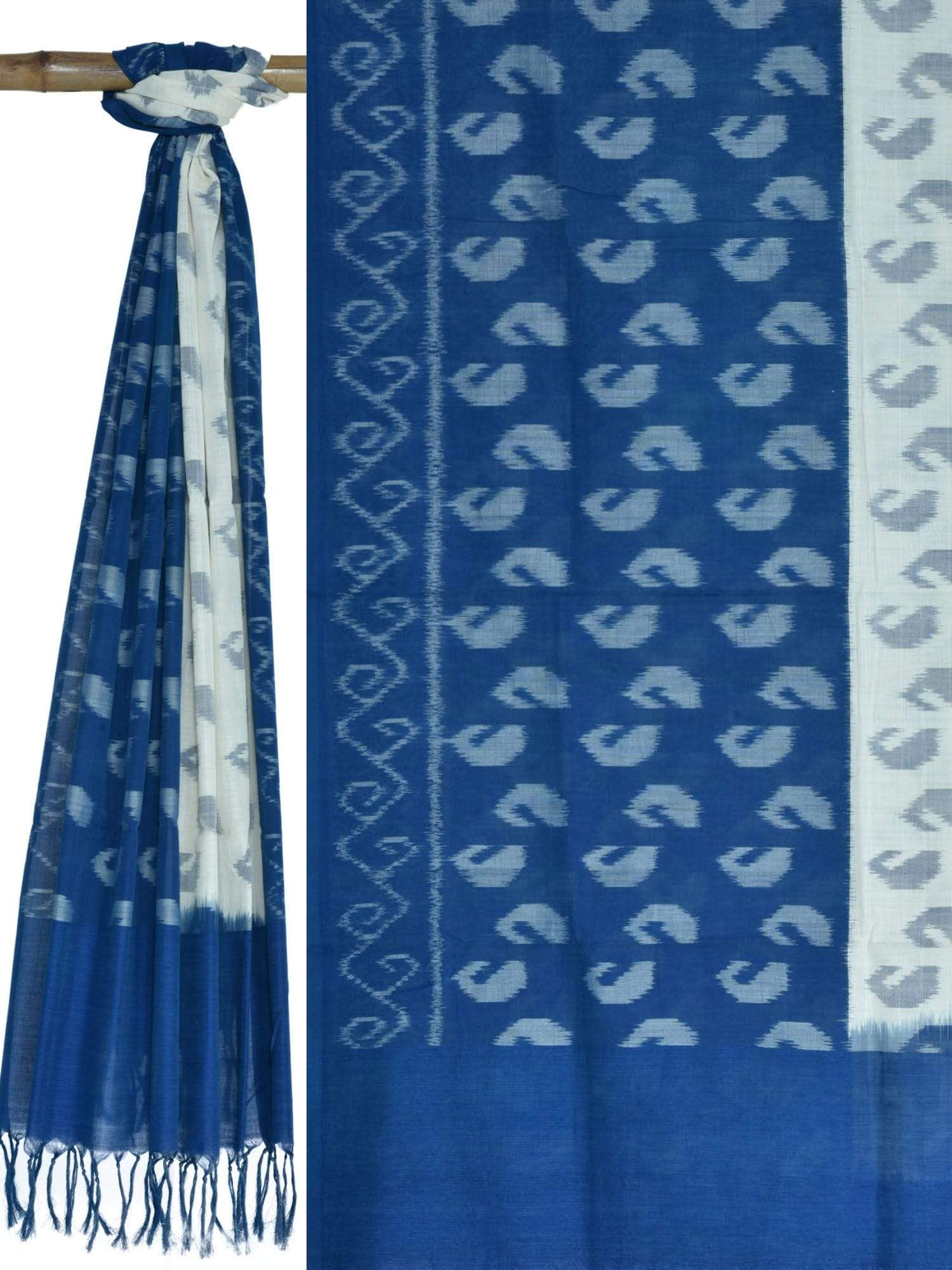 Blue and White Pochampally Ikat Cotton Handloom Dupatta with Mango Design ds1614