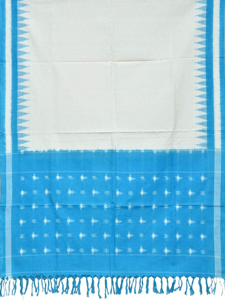 Blue and White Pochampally Ikat Cotton Handloom Dupatta with Temple Border Design ds1827