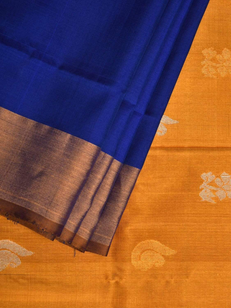 Blue and Yellow Uppada Silk Handloom Saree with Buta and Contrast Pallu Design u1745