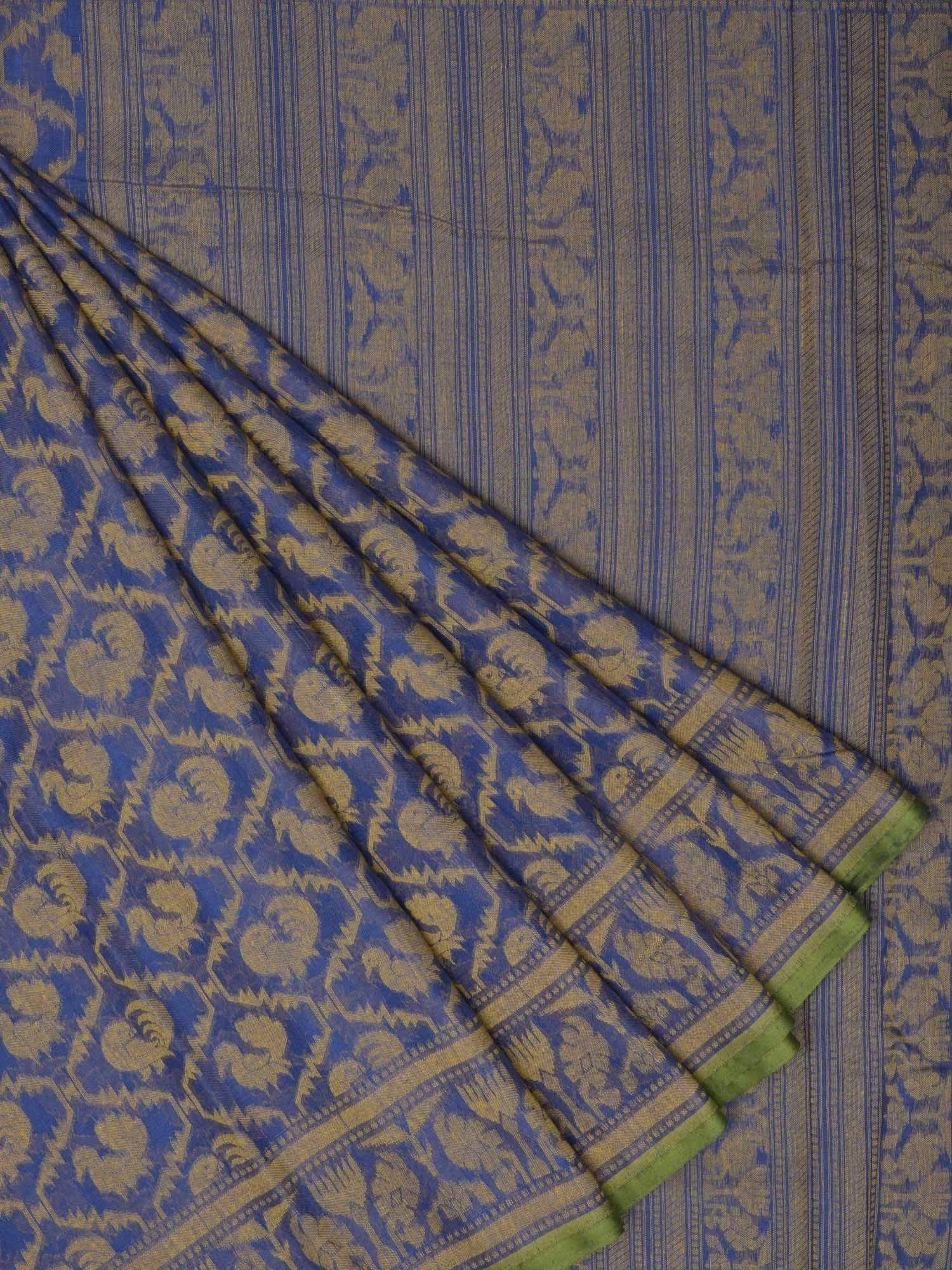 Blue Banaras Cotton Handloom Saree with Cut Work Design b0261