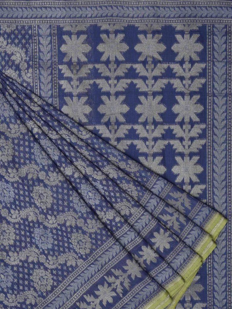 Blue Banaras Cotton Handloom Saree with Cut Work Diagonal Design b0254