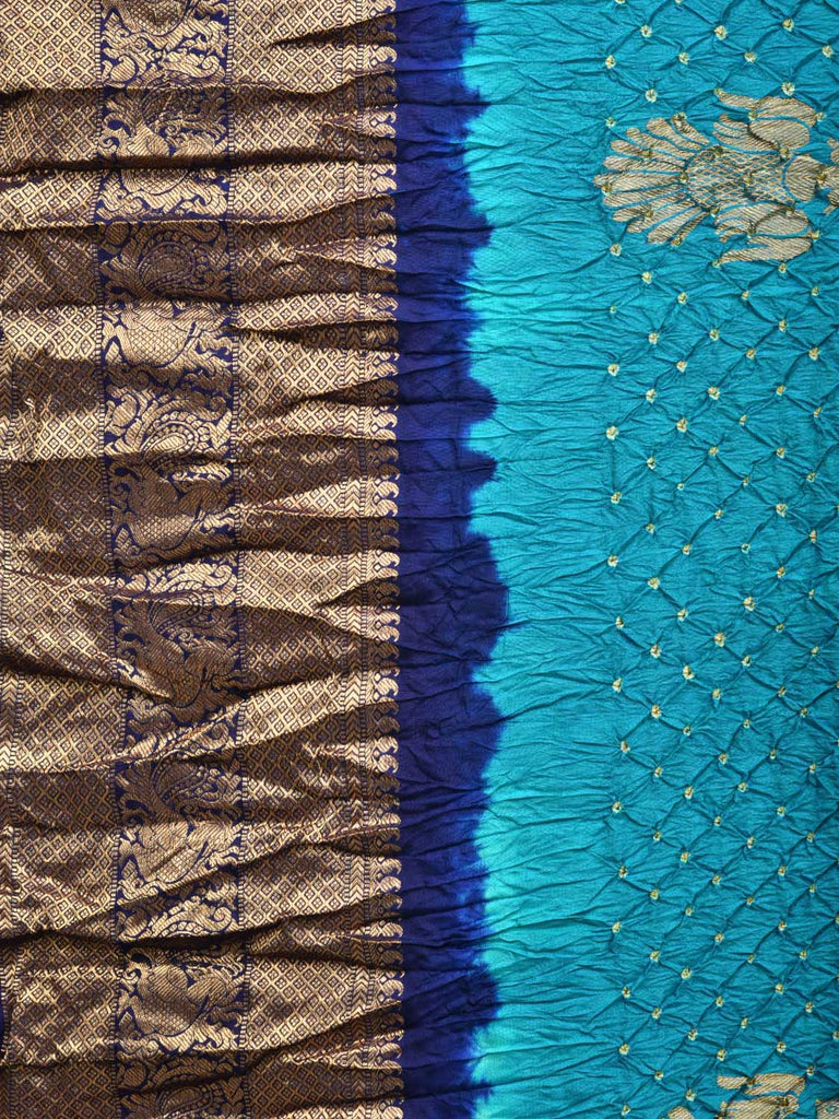 Blue Bandhani Kanchipuram Silk Handloom Saree with Gandaberunda Buta Design bn0064