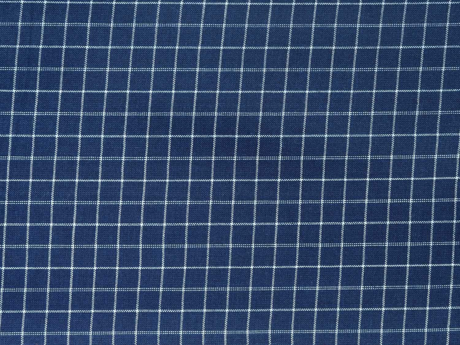 Blue Cotton Handloom Fabric Material with Small Checks Design f0148