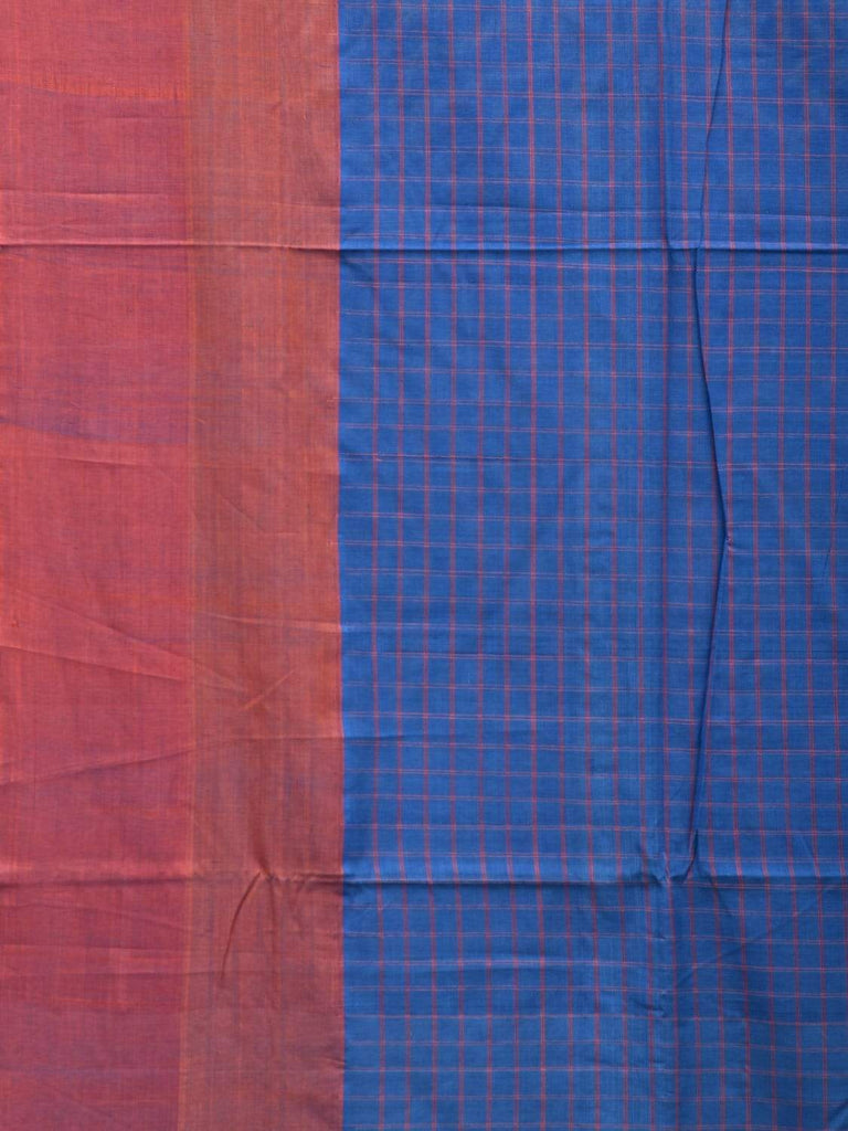 Blue Cotton Handloom Saree with All Over Checks Design o0288