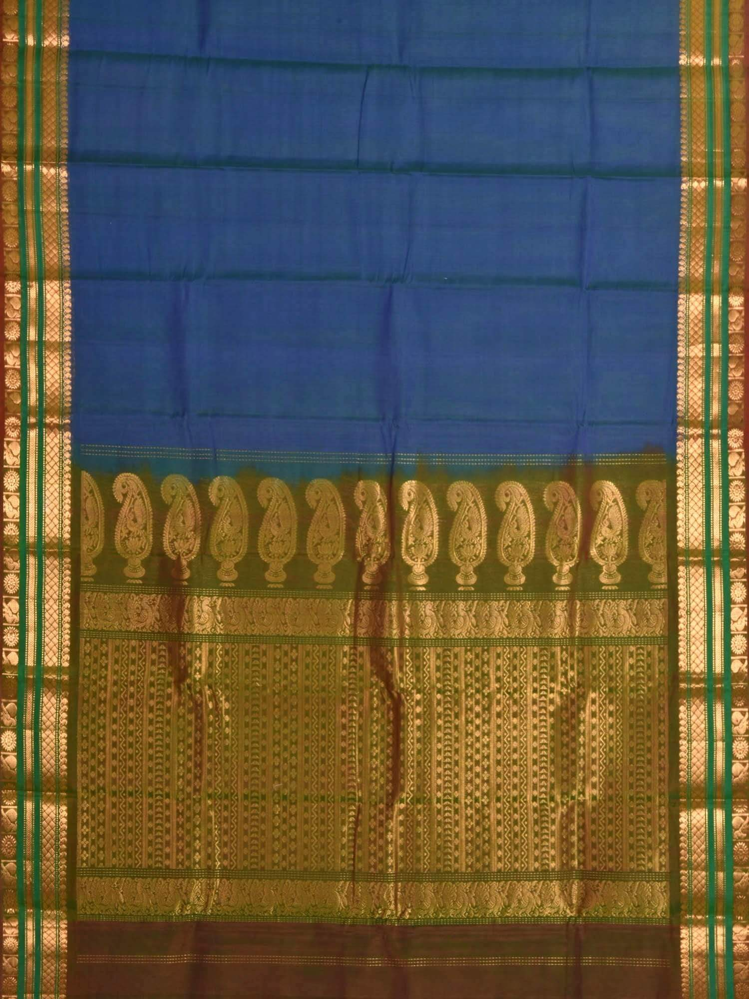 Blue Gadwal Cotton Silk Handloom Saree with Mango Pallu Design g0138