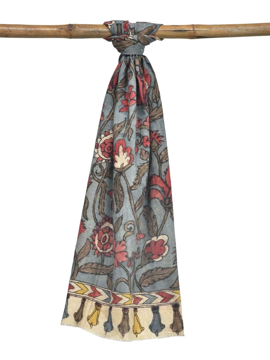 Blue Kalamkari Hand Painted Cotton Handloom Stole with Floral Design ds1919