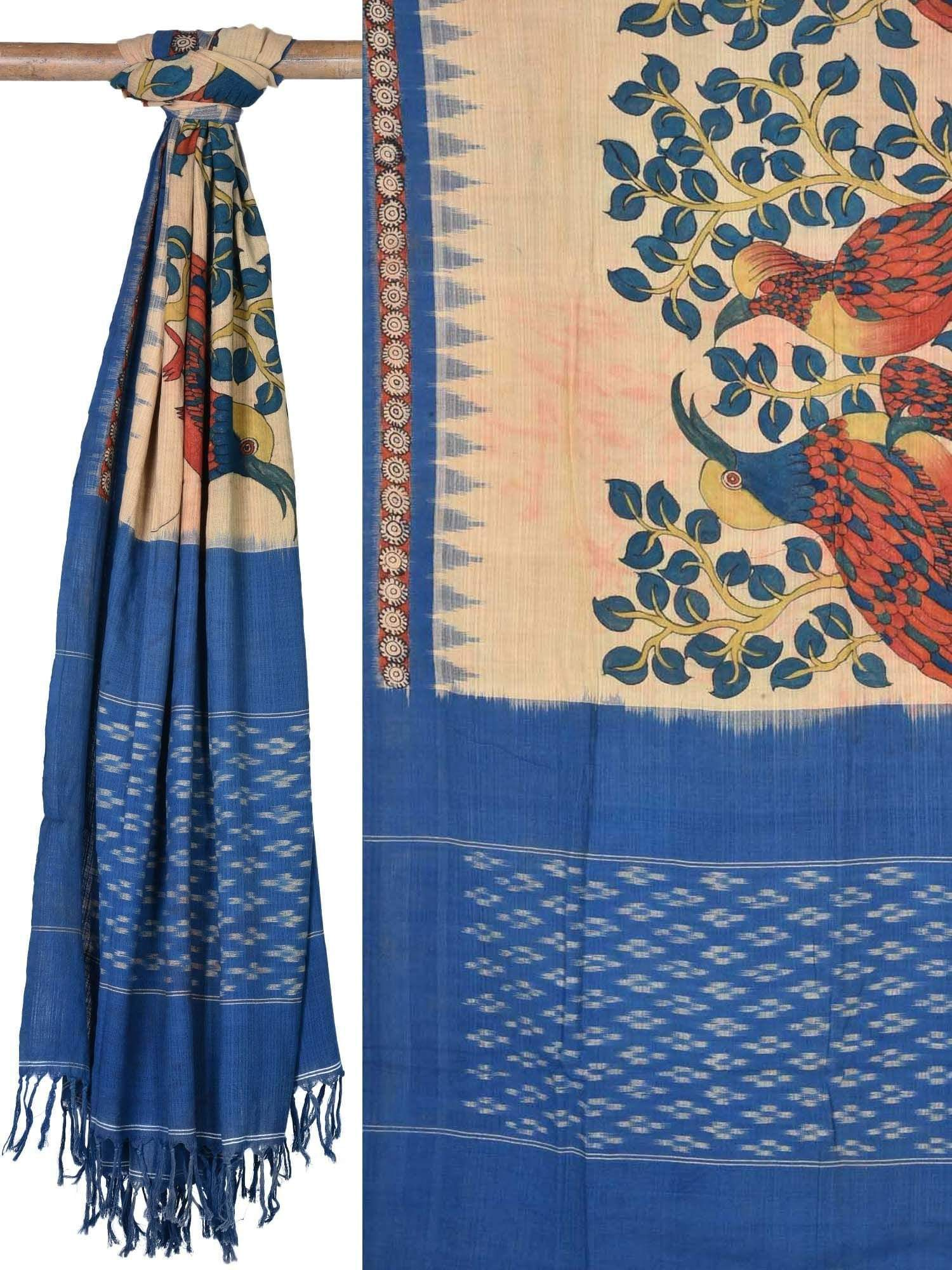 Blue Kalamkari Hand Painted Cotton Ikat Dupatta with Birds Design ds1703