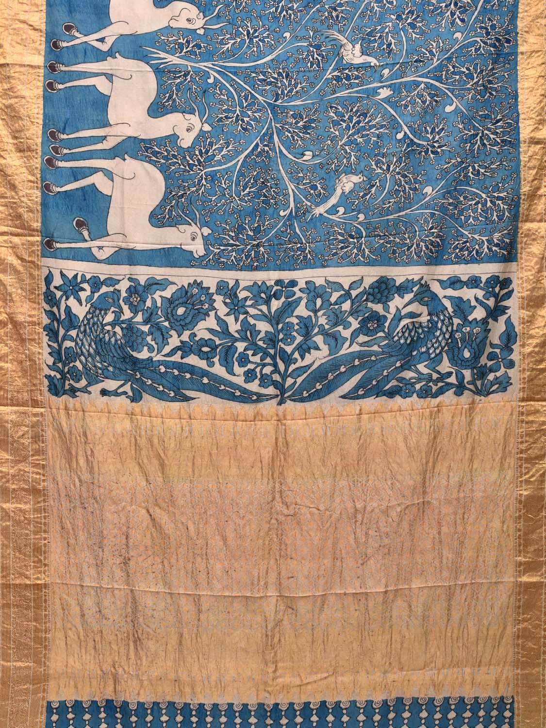 Blue Kalamkari Hand Painted Kanchipuram Silk Handloom Saree with Deers Design KL0256