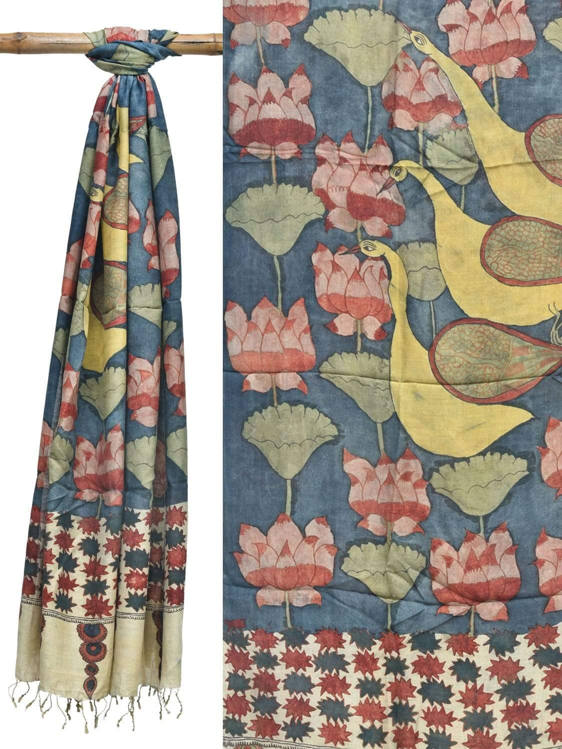 Blue Kalamkari Hand Painted Muga Handloom Dupatta with Lotus Flowers and Birds Design ds1934