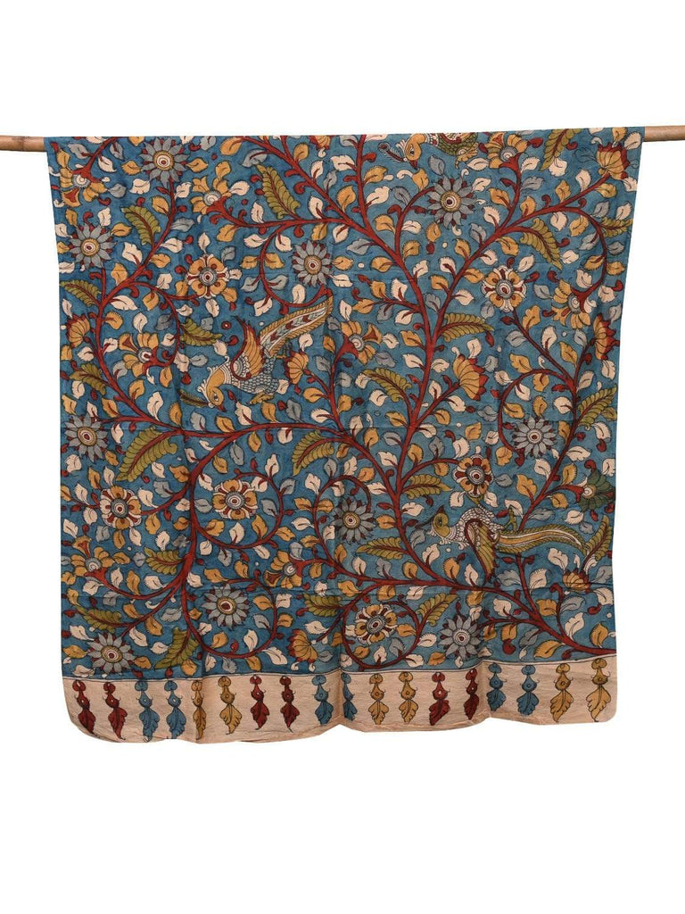 Blue Kalamkari Hand Painted Silk Dupatta with Flowers and Birds Design ds2094