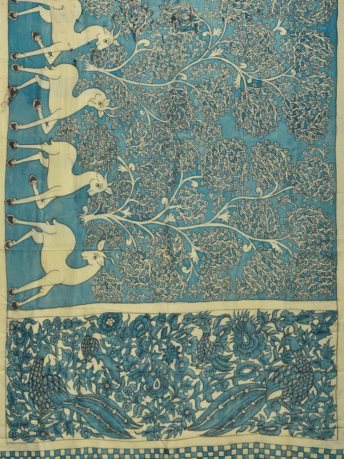 Blue Kalamkari Hand Painted Silk Handloom Saree with Deers, Trees and Pallu Design KL0190