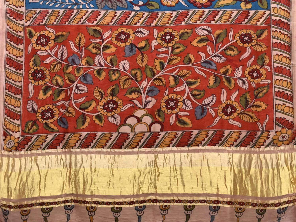 Blue Kalamkari Hand Painted Silk Handloom Saree with Lotus Border and Floral Design KL0391