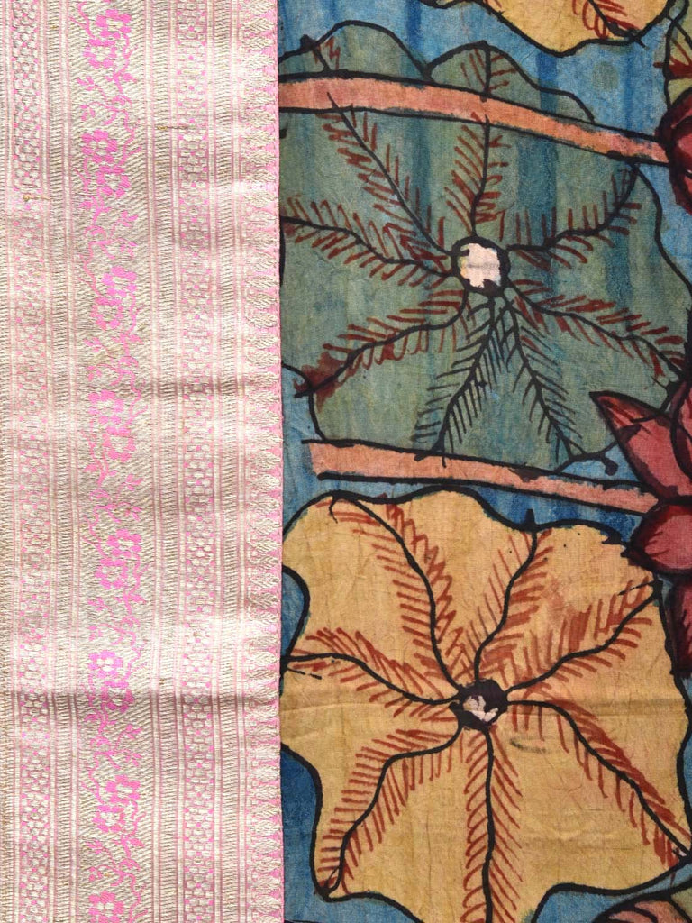 Blue Kalamkari Hand Painted Silk Handloom Saree with Lotus Flowers and Banaras Border Design No Blouse KL0268