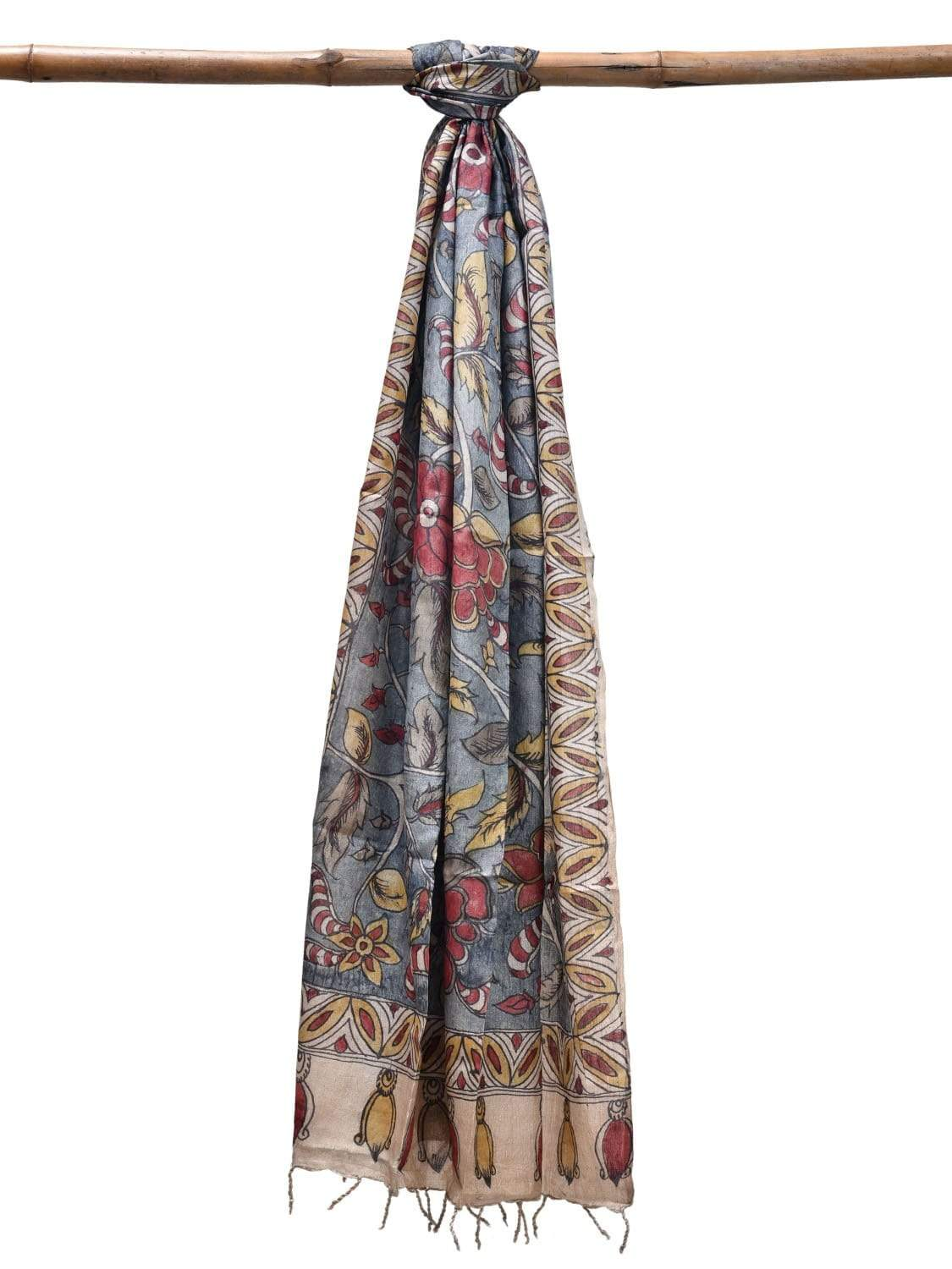 Blue Kalamkari Hand Painted Tussar Dupatta with Floral Design ds1906